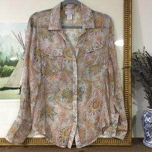 Soft Surroundings Silk Sheer Paisley Floral Shirt